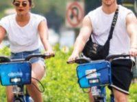 Priyanka Chopra and Nick Jonas go on a romantic bicycle date.
